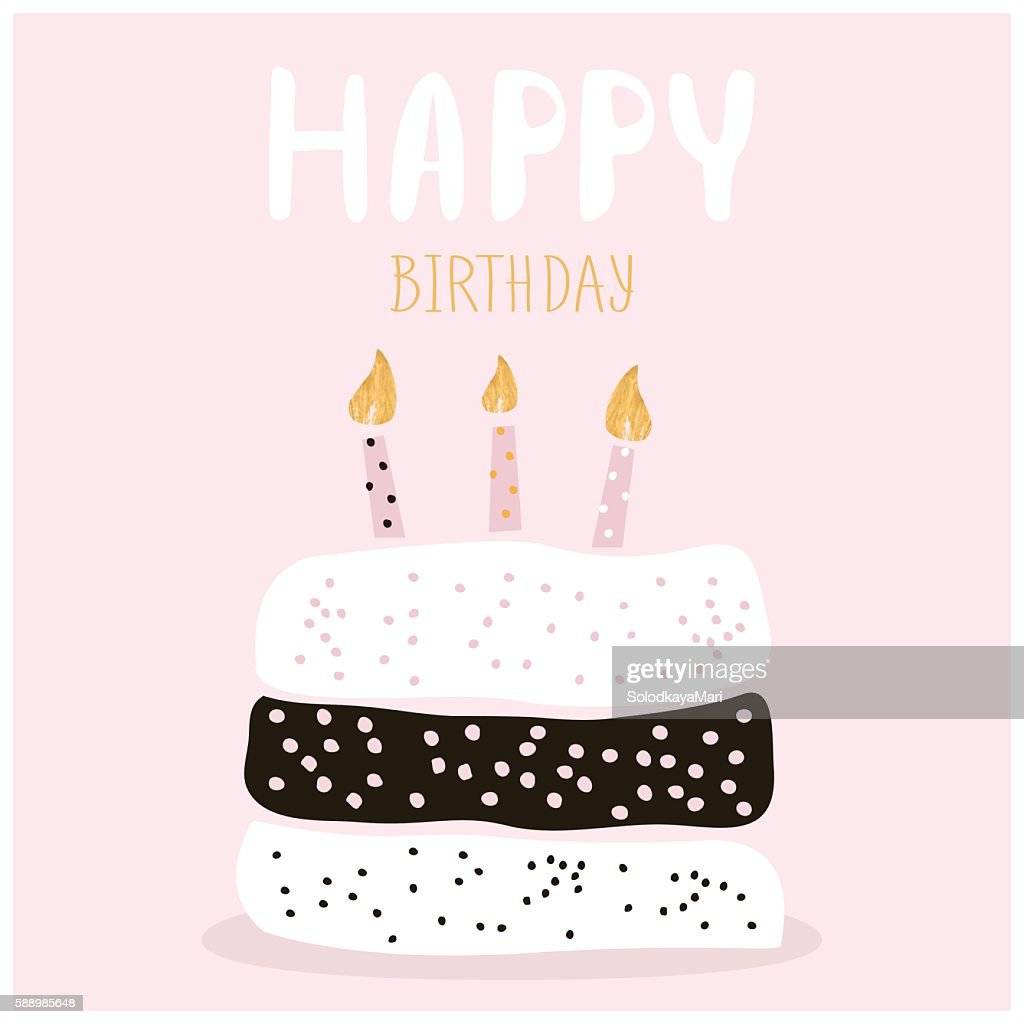 Cute Cake With Happy Birthday Wish Greeting Card Template Vector Art