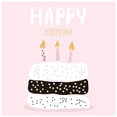 Cute cake with happy birthday wish. Greeting card template.