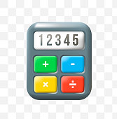 Cute Calculator Icon on Transparence Background