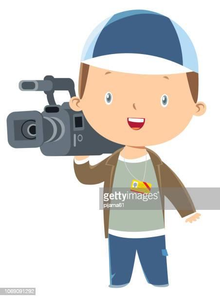 cute cameraman - film crew stock illustrations