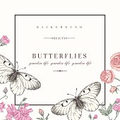 A cute card template with butterflies and flowers