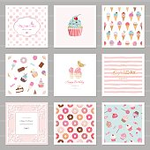 Cute card templates set for girls. Including frames, seamless patterns