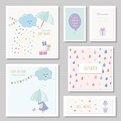 Cute cards for girls. Can be used for baby shower, birthday, babies clothes, notebook cover design. Watercolor style with gold glitter elements.