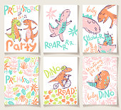 Cute cards with dinosaurs. Party invitation, baby shower, poster