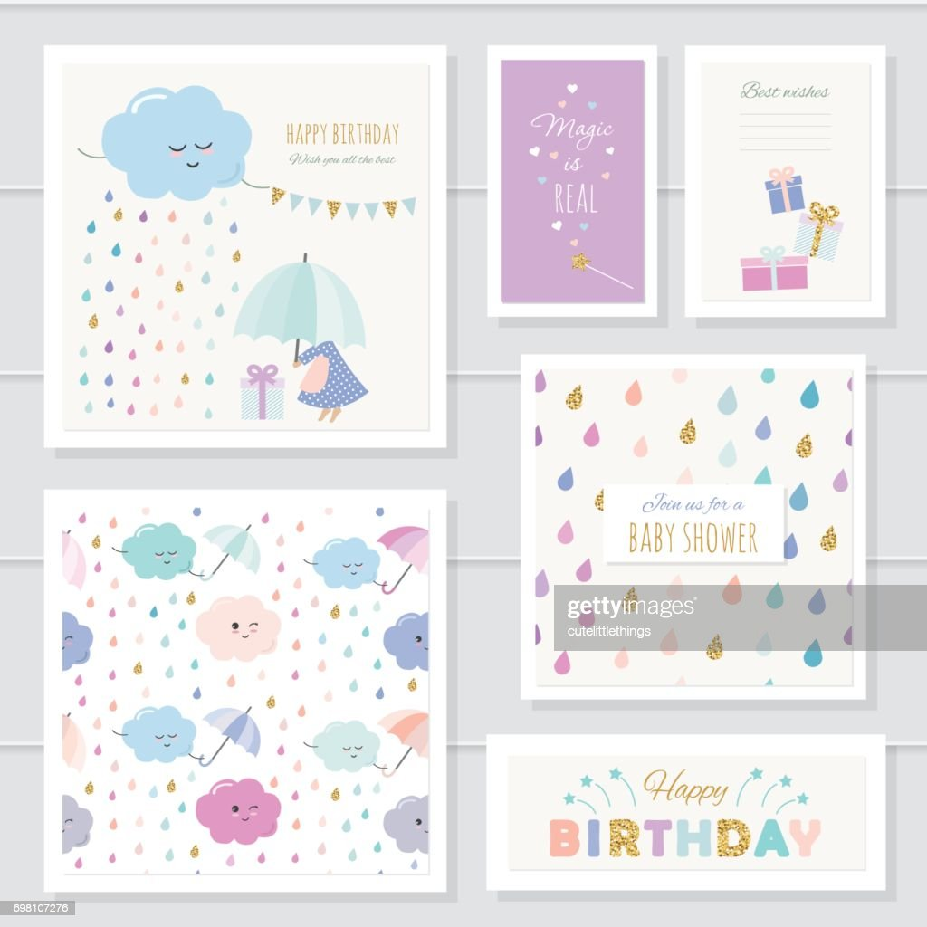 Cute cards with gold glitter elements for girls. For baby shower, birthday, babies clothes, notebook cover. Included two seamless patterns with rain drops and clouds. Watercolor.