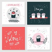 Cute cards with love lettering Valentines Day Delicious food dessert