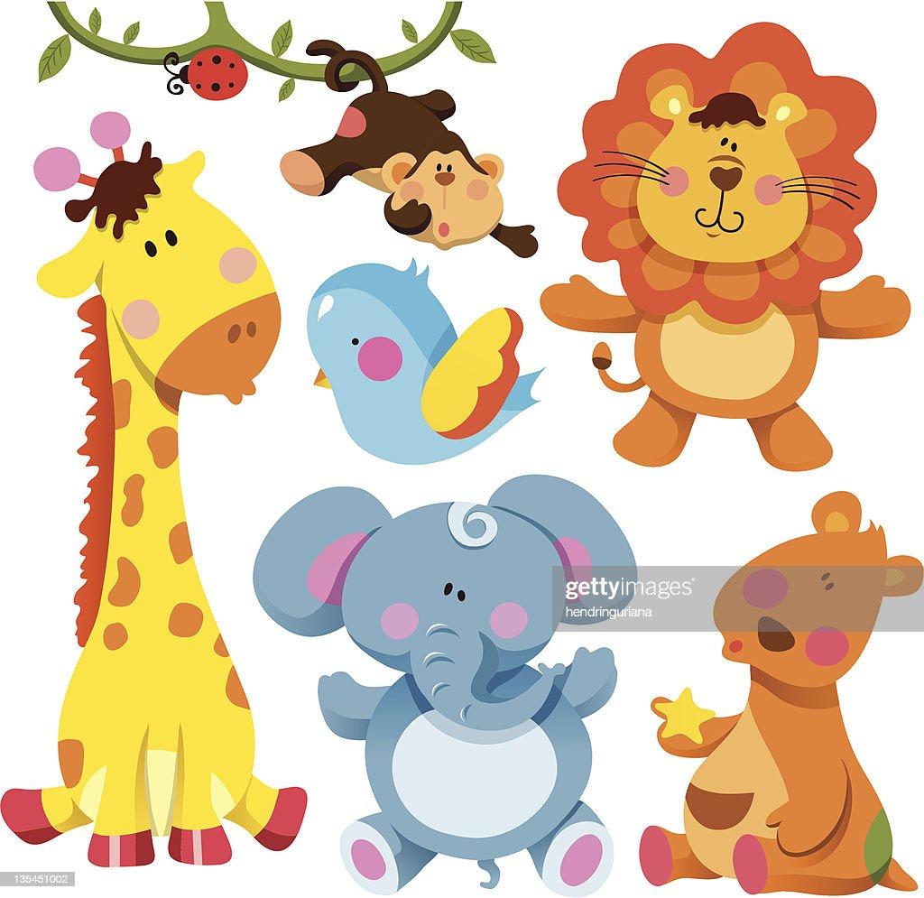 Cute cartoon animal drawing illustrations