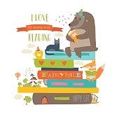 Cute cartoon animals reading books