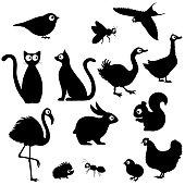 Cute cartoon animals silhouettes