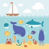 Cute cartoon animals swimming under the sea and boat.