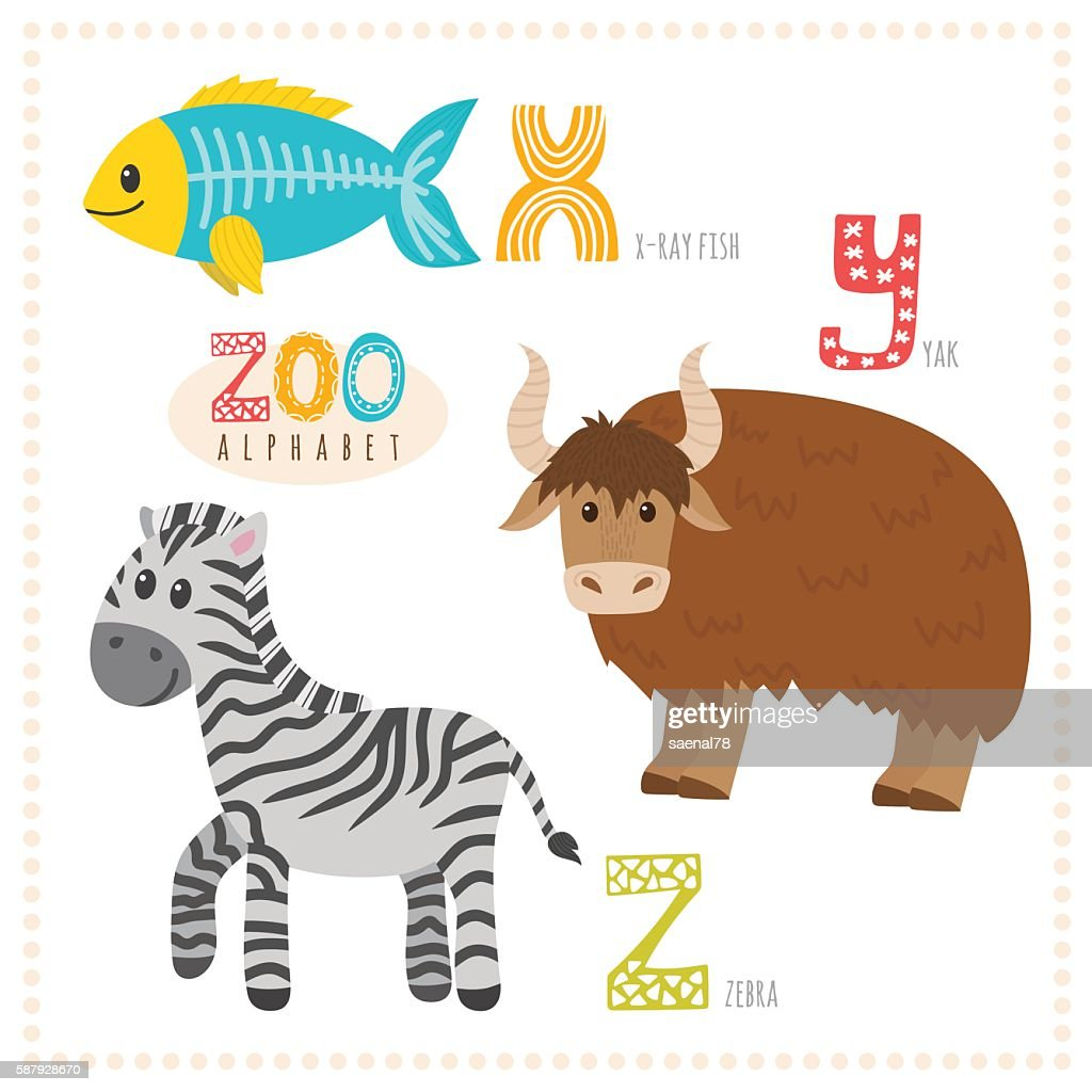 Cute cartoon animals. Zoo alphabet with funny animals.