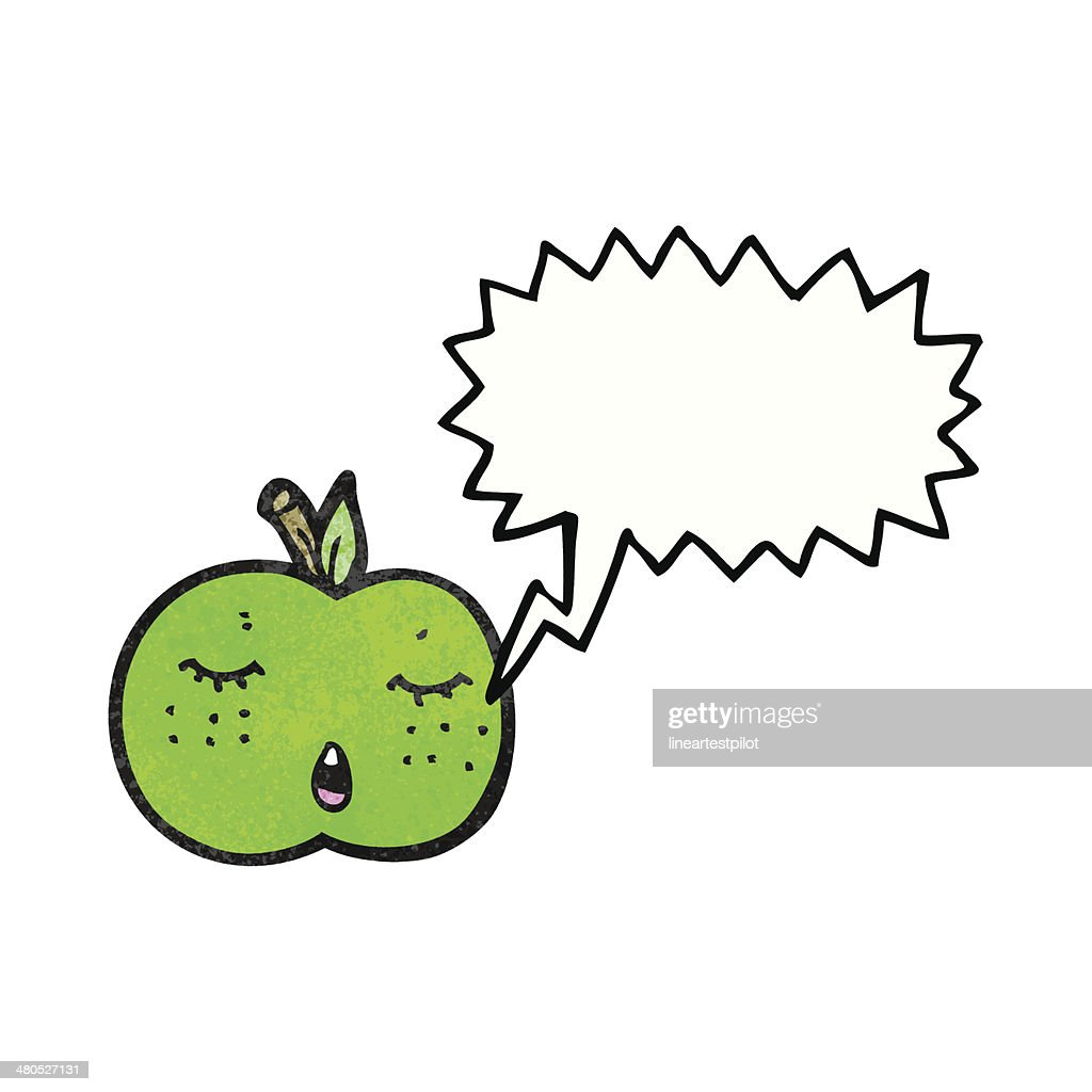 cute cartoon apple with speech bubble : Vectorkunst