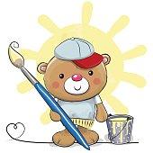 Cute Cartoon Artist Teddy Bear