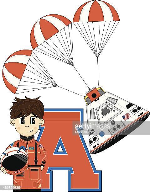 Bonito desenho aprendizagem carta de um astronauta