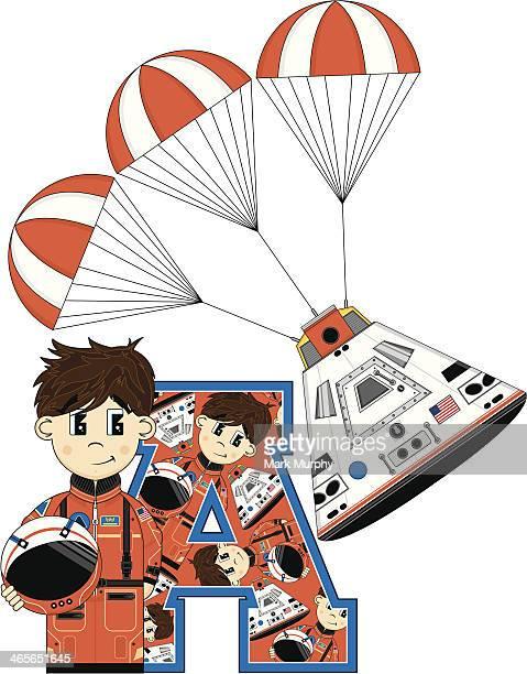 cute cartoon astronaut learning letter a - helmet visor stock illustrations, clip art, cartoons, & icons