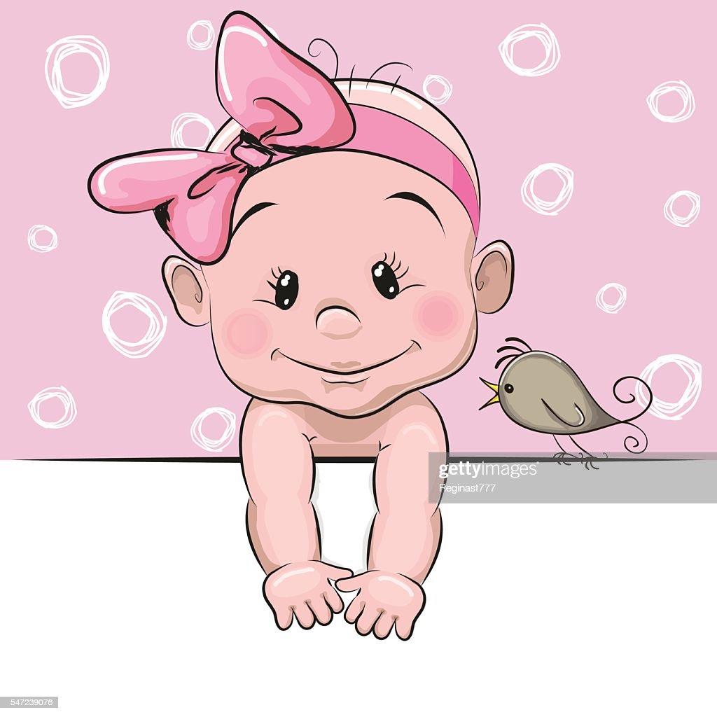 Cute cartoon baby girl