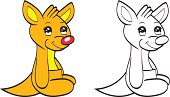 Cute cartoon baby kangaroo