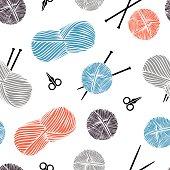 Cute cartoon background. Knitting - vector pattern.