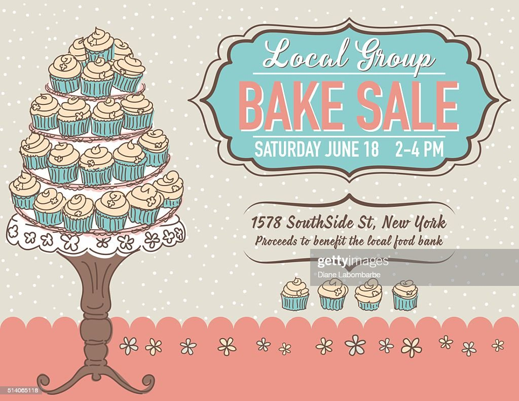 Cute Cartoon Bake Sale Flyer Template : Vector Art