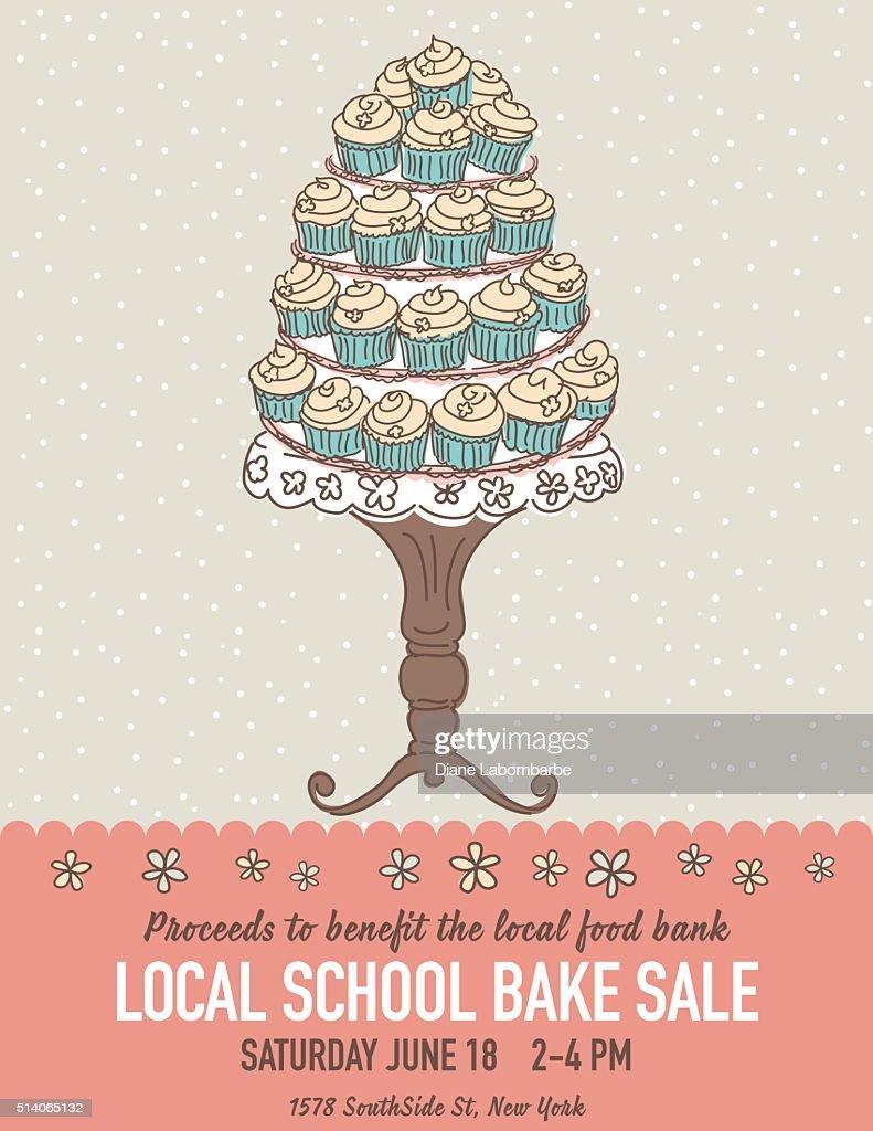 Cute Cartoon Bake Sale Flyer Template : Vector Art