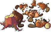 Cute Cartoon Beavers Party Vector Cartoon Clip Art