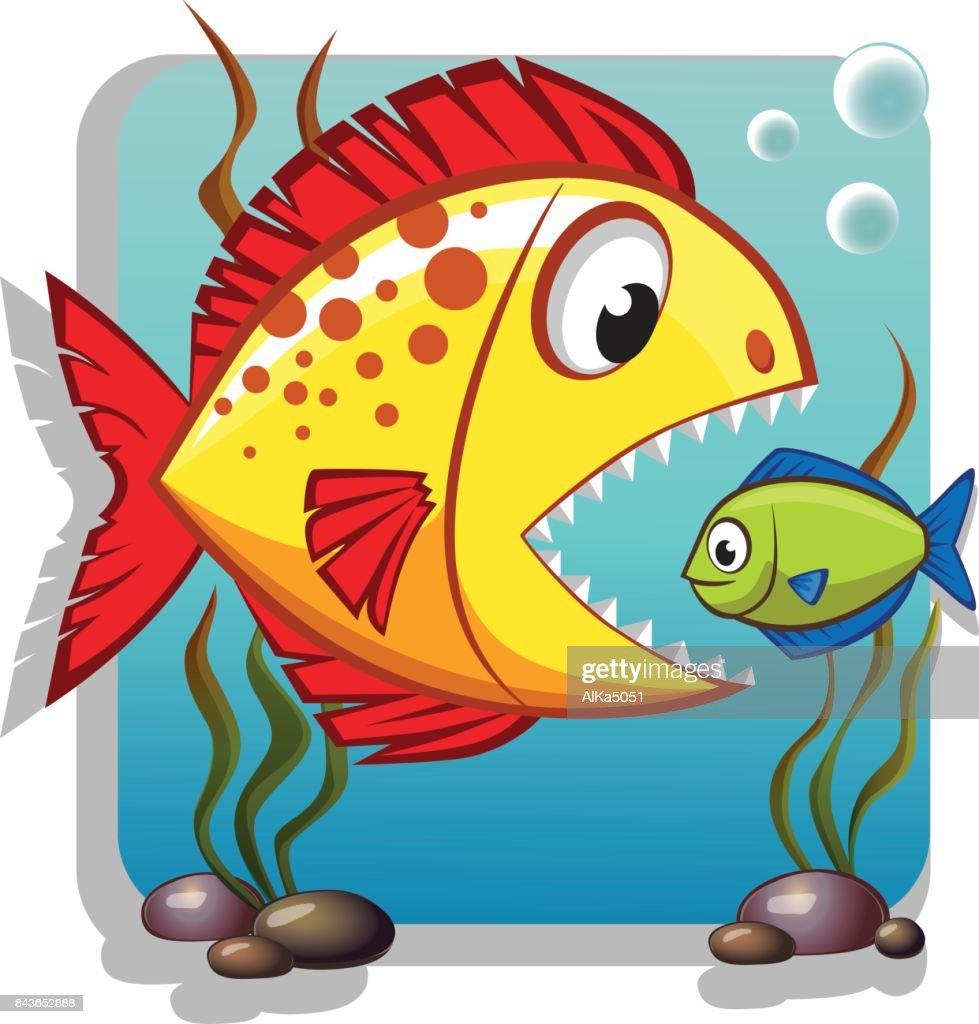 Cute cartoon big fish eat small fish. Business concept