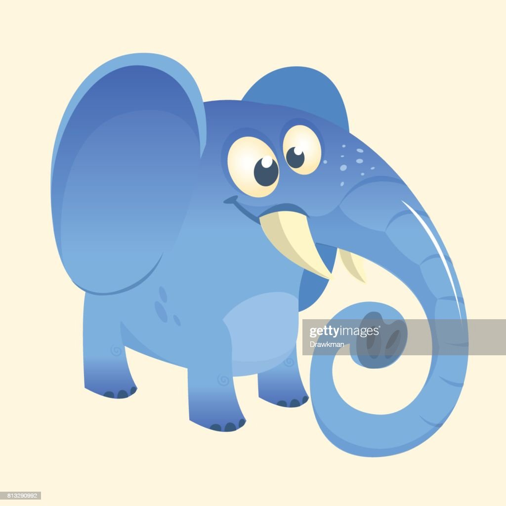 Cute cartoon blue elephant icon. Vector illustration with simple gradients. Great design for print. Isolated