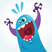 Cute cartoon blue monster. Vector  character  for party decoration