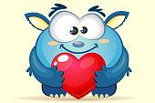 Cute cartoon blue monster with heart