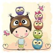 Cute Cartoon Boy Owls