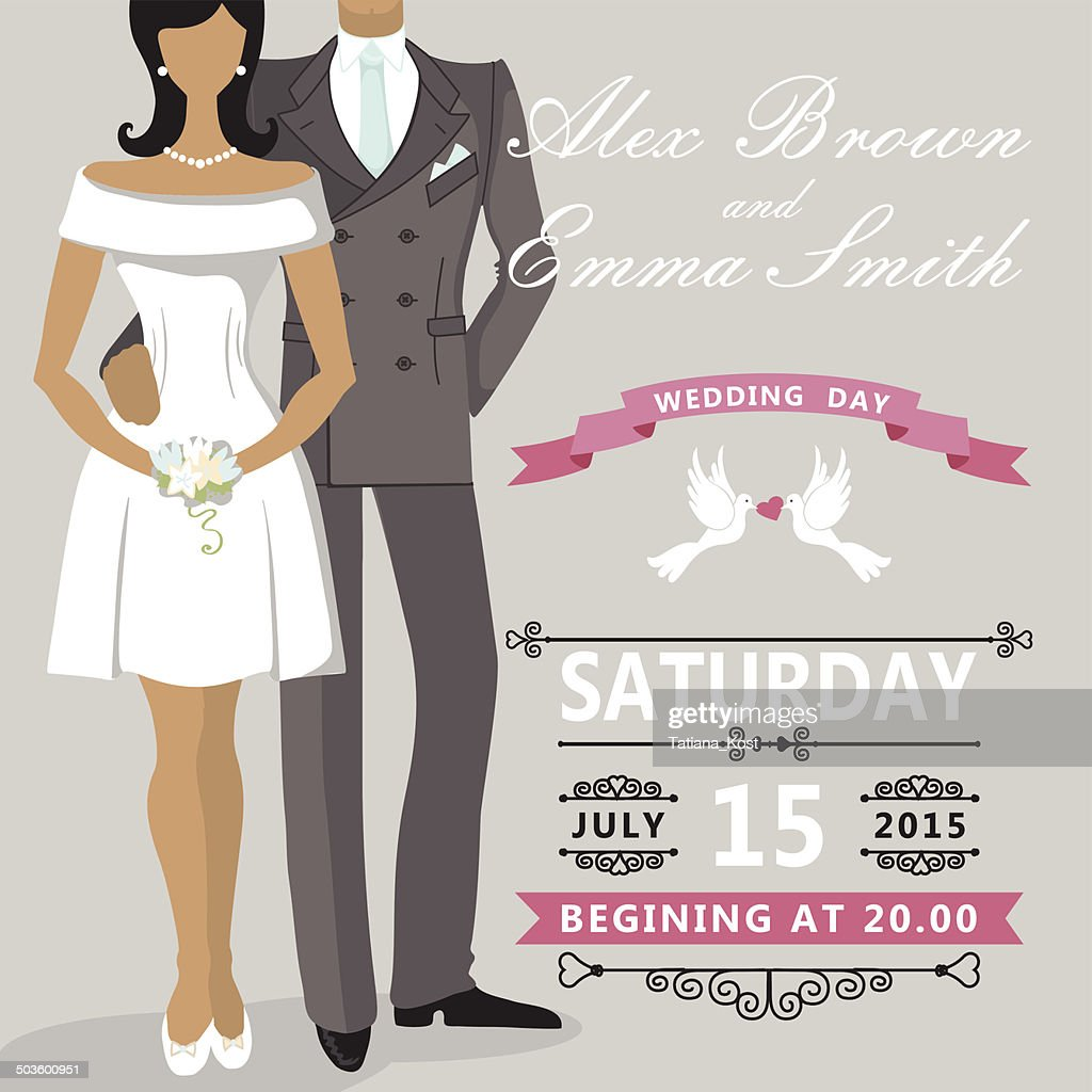 Cute Cartoon Bride And Groom Wedding Invitation Vector Art | Getty ...