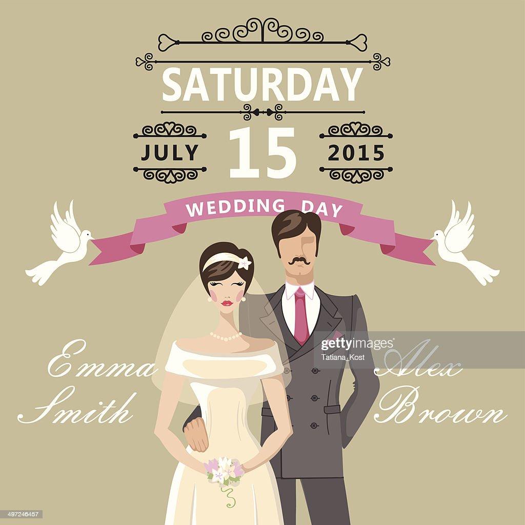 Cute Cartoon Bride And Groomretro Wedding Invitation High Res Vector Graphic Getty Images