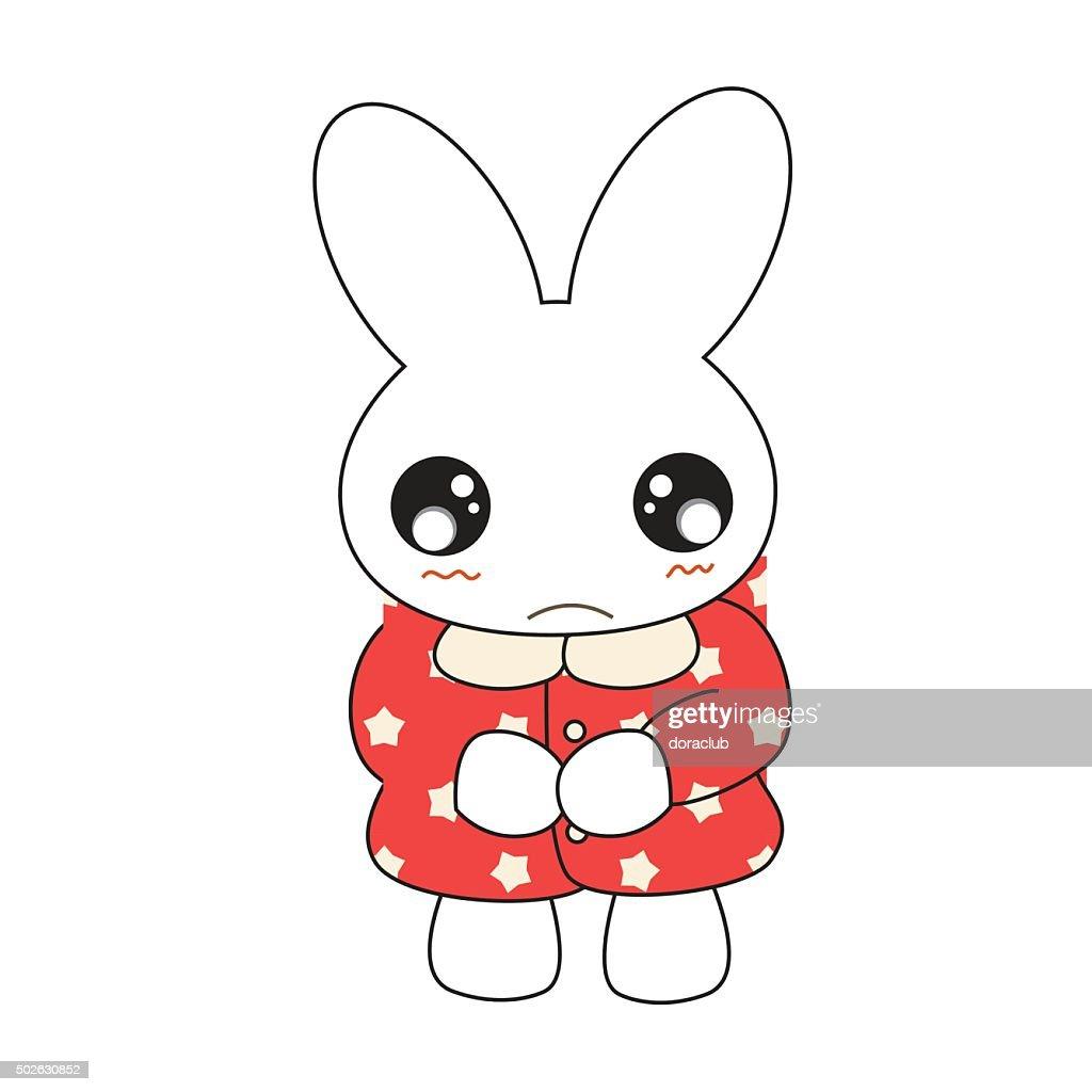 Cute cartoon bunny girl in a pretty pink dress.