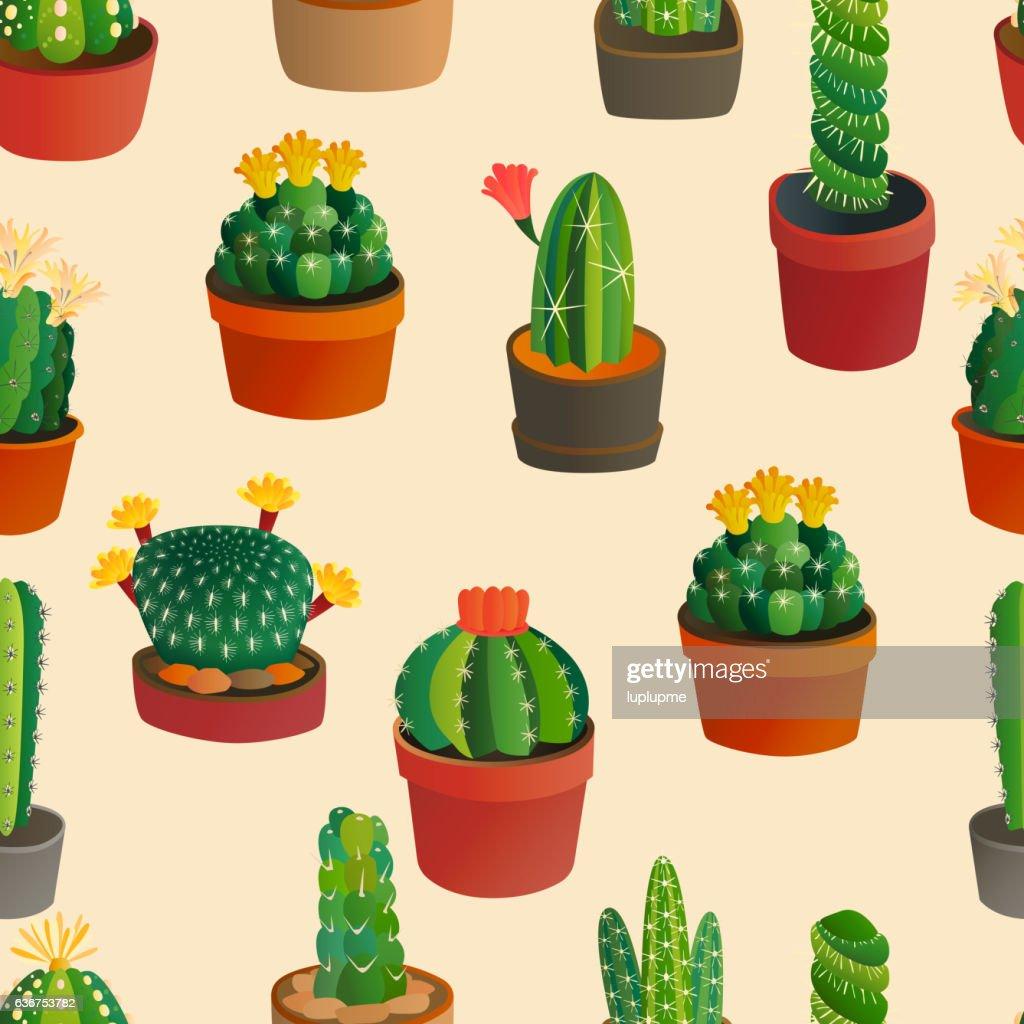 Cute cartoon cactus collection
