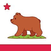 Cute cartoon California flag