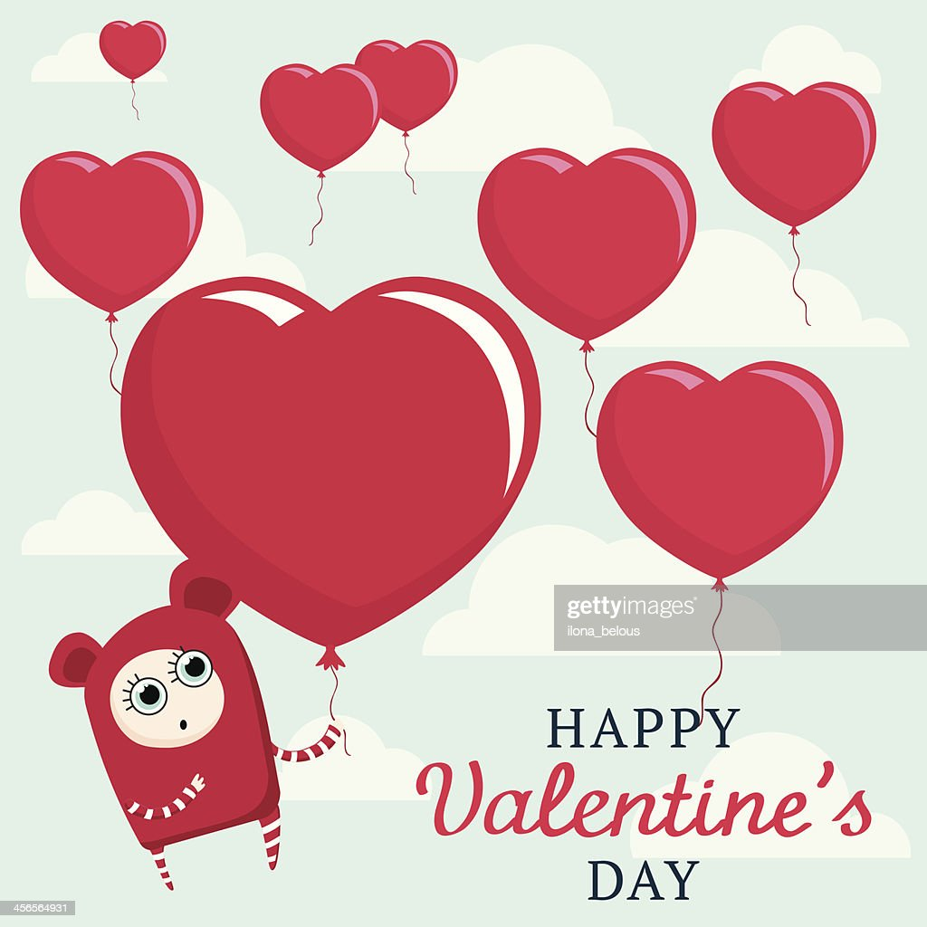 Cute Cartoon Character Valentines Day Postcard With Hearts Balloons