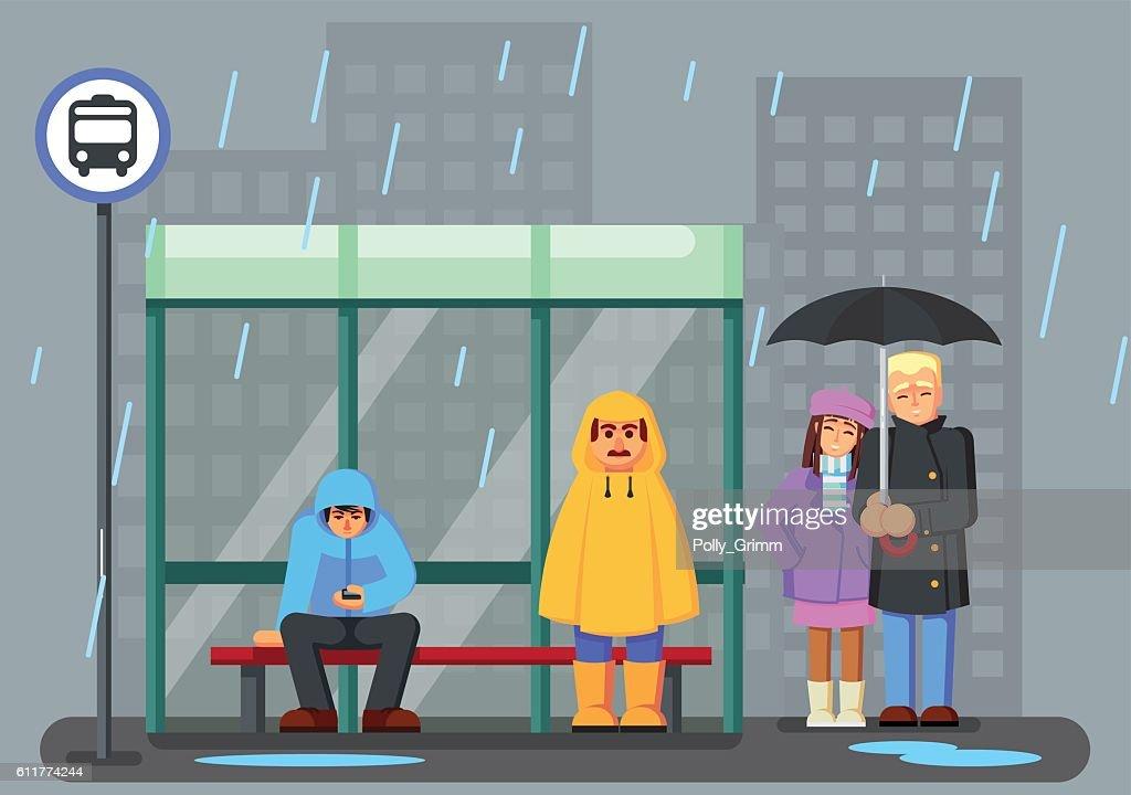 Cute Cartoon Characters raincoat Umbrella Rain Waiting Bus.