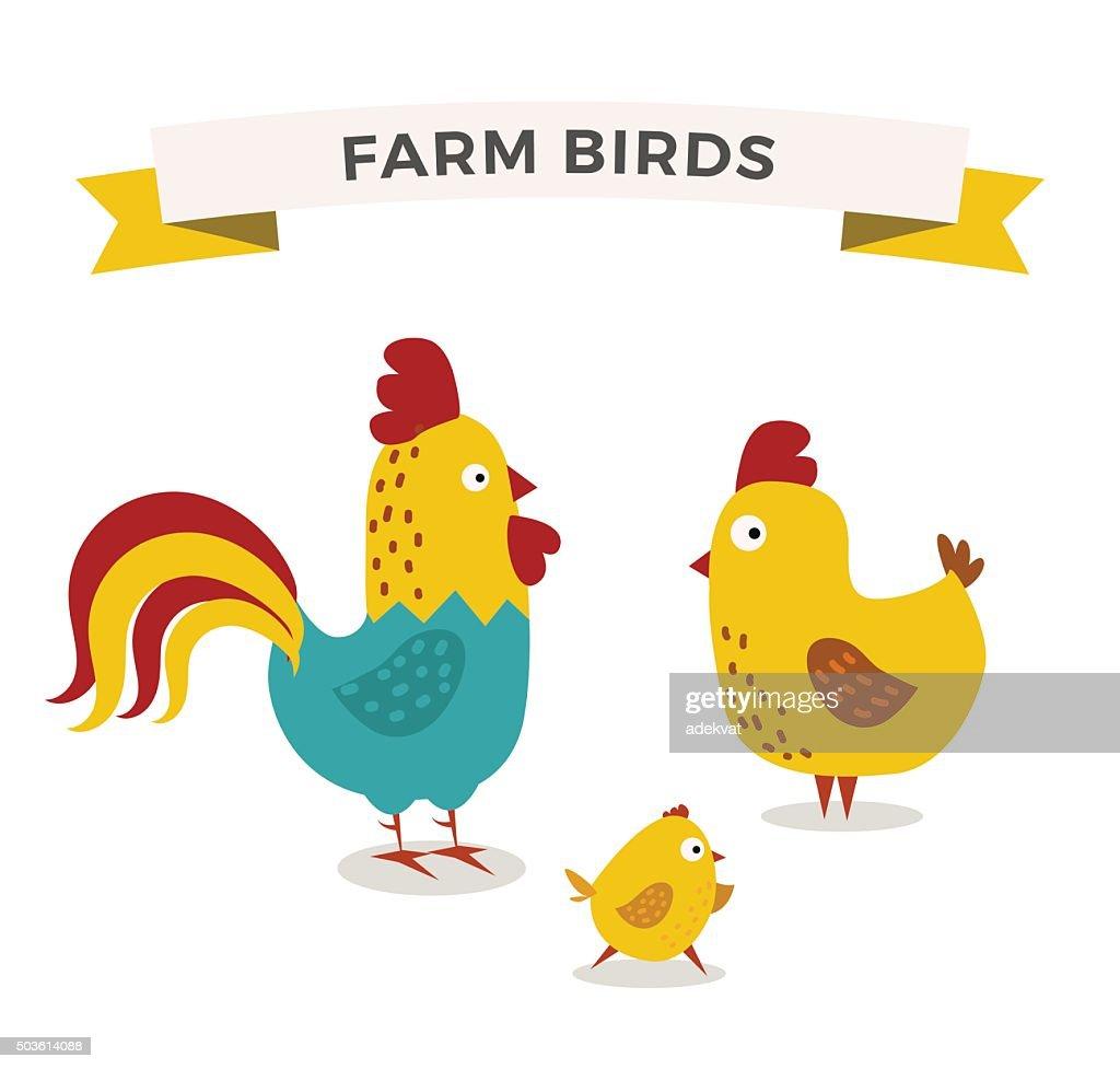 Cute cartoon chicken mother and chuk kid vector illustration