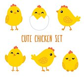 Cute cartoon chicken set