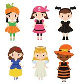 Cute cartoon children in colorful halloween costumes.