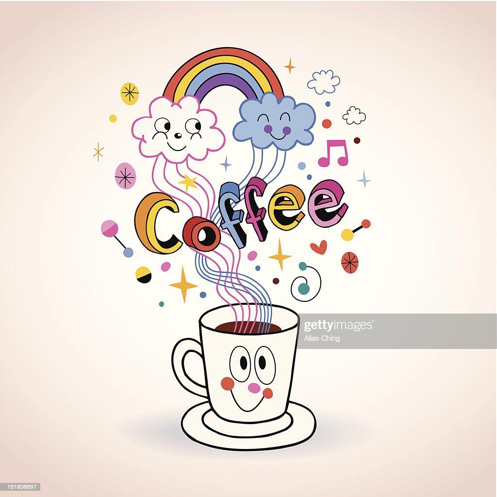 Cute cartoon coffee cup illustration
