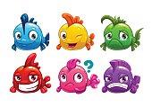 Cute cartoon colorful fishes set