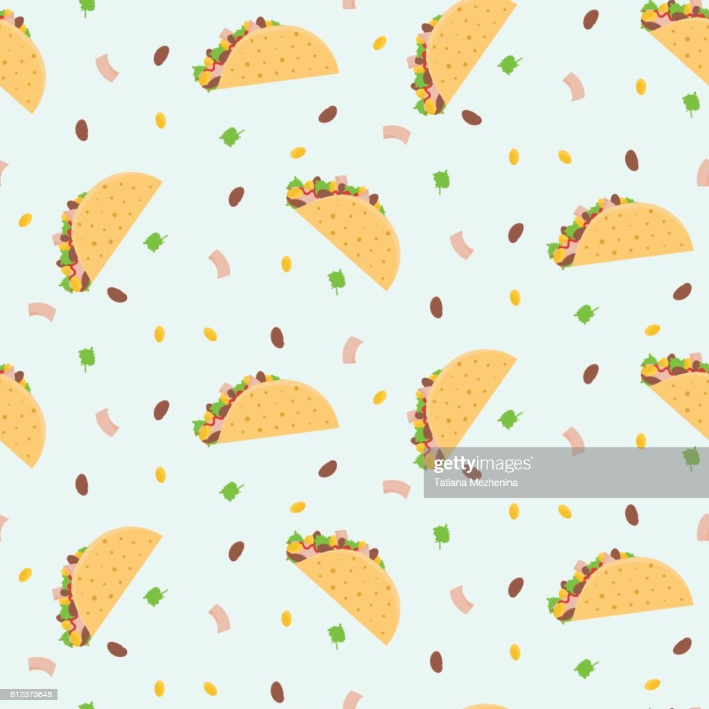 Cute cartoon colorful seamless pattern with mexican tacos, corn, lettuce and kidney bean