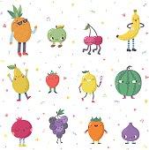 Cute cartoon cute fruits vector set. Funny characters.