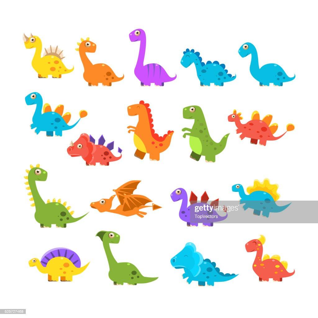 Cute Cartoon Dinosaurs Set