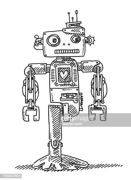 Niedlichen Cartoon deaktiviert Roboter Herz-Zeichnung
