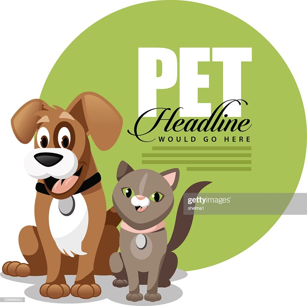Cute cartoon dog and cat ad background template