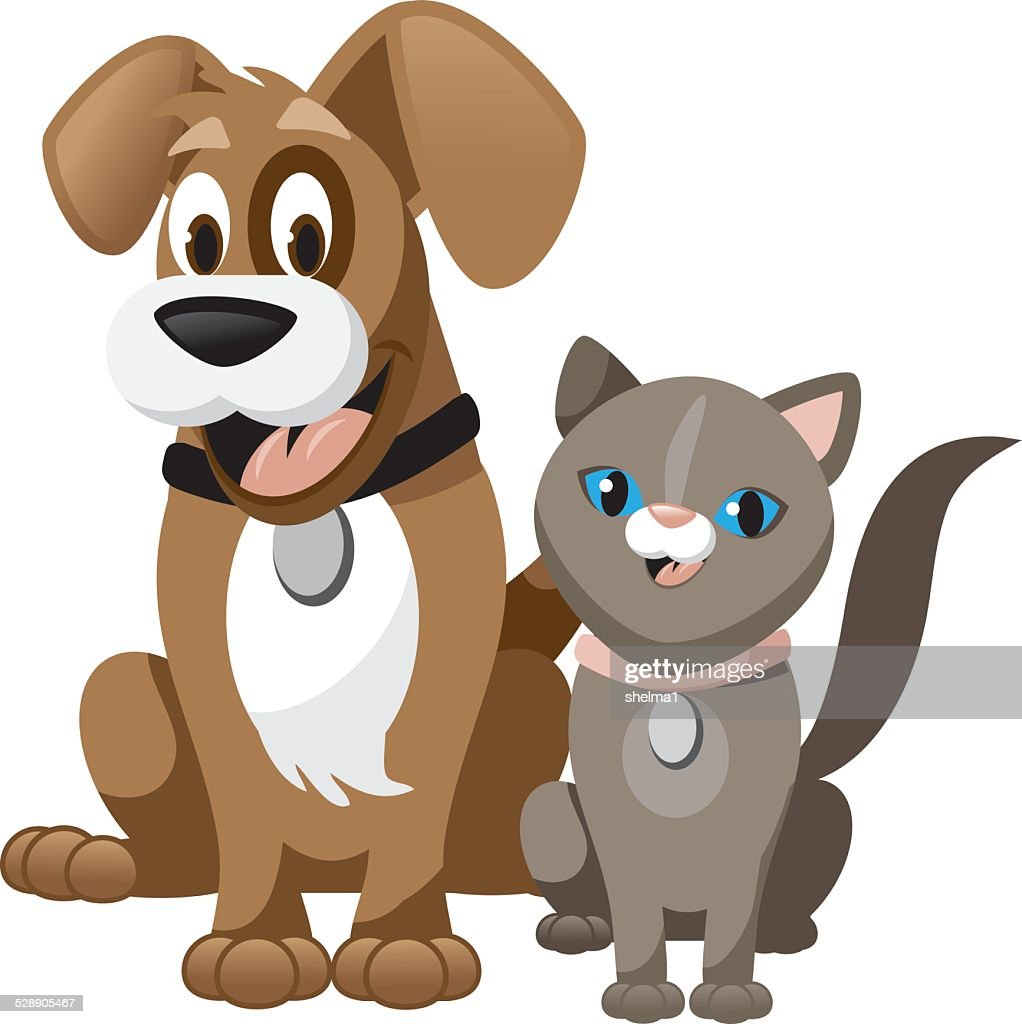 Cute cartoon dog and cat isolated on white