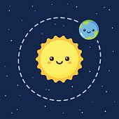 Cute cartoon Earth and Sun