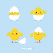 Cute cartoon easter chicks in eggshells flat vector illustration